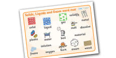 Solids Liquids and Gases Word Mat