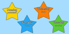 Multicoloured Stars Days of the Week Polish Translation