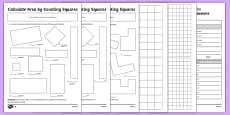 Year 4 Calculate Area by Counting Squares Activity Sheet Pack