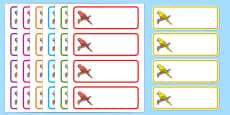 Parrot Themed Editable Drawer Peg Name Labels