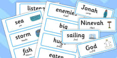 Jonah and the Big Fish Word Cards Arabic Translation