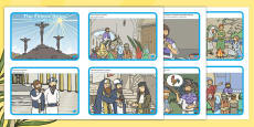* NEW * The Easter Story Sequencing Cards English/Romanian
