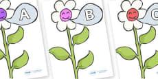A-Z Alphabet on Flowers
