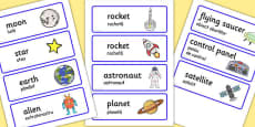 Spaceship Word Cards Romanian Translation