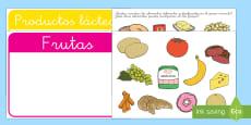 Grupos alimenticios Tarjetas de clasificar