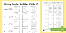 Missing Number Addition Within 10 Activity Sheet