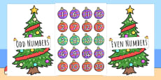 Australia - Odds and Evens Sorting Baubles on Christmas Trees