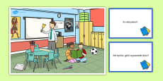 School Scene and Question Cards Polish