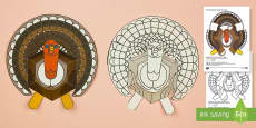 Simple 3D Thanksgiving Turkey Printable Decoration Activity Paper Craft