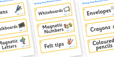 Aspen Themed Editable Writing Area Resource Labels
