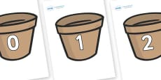 Numbers 0-31 on Flower Pots (Plain)