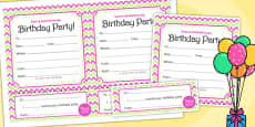 Zig Zag Birthday Party Invitations Pink And Green