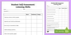 Student Self-Assessment: Listening Skills Activity Sheet