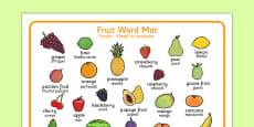 Fruit Word Mat Romanian Translation