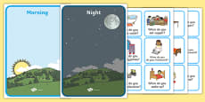 Morning And Night Sorting Activity Image And Word Cards