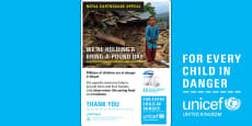 Unicef Nepal Earthquake Bring a Pound Day A4 Poster
