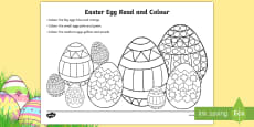 * NEW * Easter Egg Read and Colour Activity Sheet