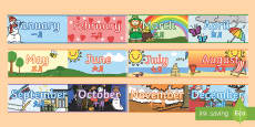 Months of the Year Display Borders - English/Mandarin Chinese