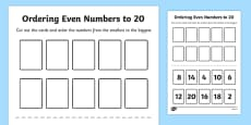 Number Ordering Even Numbers to 20 Activity