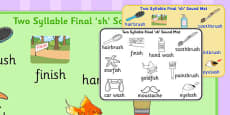 Two Syllable Final 'Sh' Sound Mat