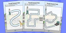 Giant Themed Pencil Control Path Activity Sheets