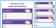 Literature Circle Choice of Book/Story Activity Sheet