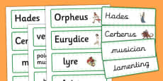 Orpheus and Eurydice Word Cards