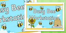 Busy Bees Workstation Display Poster Sign