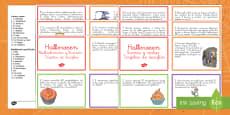 Halloween Tarjetas de desafío de matemáticas de atención a la diversidad Spanish / Español