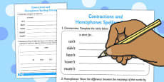 Contractions and Homophones Activity