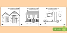 Houses and Homes Counting in 10s Dot-to-Dot Activity Sheet Pack