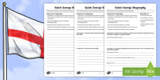 KS2 St. George's Day: Saint George Biography Writing Frame Differentiated Activity Sheets