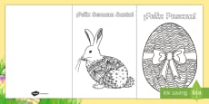 Mindfulness Easter Colouring Cards - Spanish