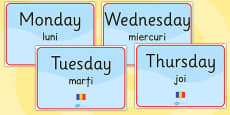 Days of the Week Signs EAL Romanian Translation