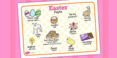 Easter Word Mat Romanian Translation