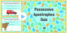 Using an Apostrophe of Possession with Nouns that Don't Change Plural SPaG PowerPoint Quiz