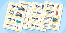 Swimming Pool Word Cards Arabic Translation