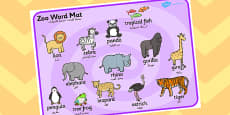 Zoo Word Mat Arabic Translation