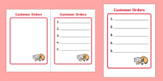 Chinese Takeaway Role Play Order Form