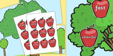 WOW Words on Red Apples and Large Display Tree