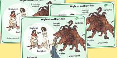 Orpheus and Eurydice Word Mat