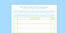 Ten Things I Want to Do This Summer Romanian Translation