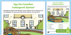 Spy the Endangered Canadian Species Activity Sheet