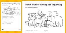 French Number Sequences Worksheet