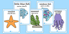 The Rainbow Fish Movement Activity Picture Cards Romanian Translation