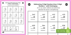 Subtracting 2 Digit Numbers from 3 Digit Numbers in a Column with Exchanging Worksheet Year 3