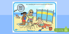 Phase 3 ng Words Beach Scene Magnifying Glass Activity Sheet