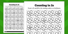 Counting in 2s Flowers Activity Sheets