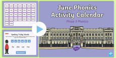 Phase 3 June Phonics Activity Calendar PowerPoint