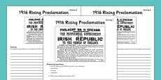 1916 Rising Proclamation Worksheets